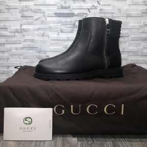 d94704687 Gucci Black Pebbled Leather Moto Zip Ankle Boots